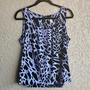Dana Buchman Medium Tank Top Purple Giraffe Print